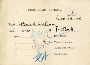 Photographic example Exeat Chit from Cranleigh School