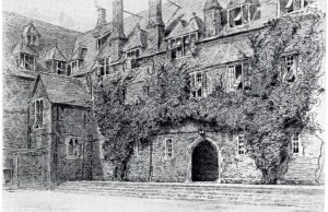 Wallace Hester pencil drawing of the Quad at Cranleigh